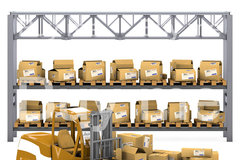 Group of boxes with loader box warehouse ar copy