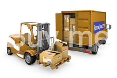 Group of boxes with minibus loader ar copy