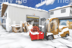 Warehouse with truck snow ar2 8bit